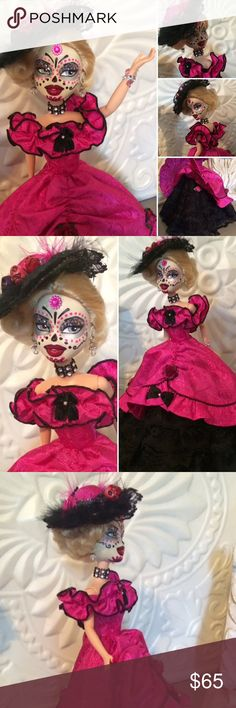 """BARBIE....Dia de Los muertos doll... Custom made doll by me ... one of a kind ...recycled hybrid Barbie doll and turned into a cute  """"Dia De Los Muertos """" doll ... the dress and hat  is also handmade ... this doll is also for sale on E-Bay ... so it will go to the first buyer ... I personally do request dolls for gifts .. just ask ... if more pics needed let me know ... Other"""