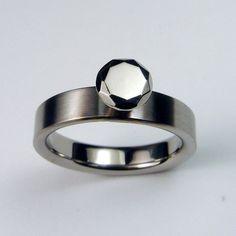 "Sick! Titanium ring with titanium ""gemstone"" by ZoeAndDoyle $239"