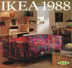 The 1988 IKEA Catalogue cover. Does anyone want us to bring that sofa cover back? 80s Interior Design, 1980s Interior, 80s Design, Graphic Design, 80s Furniture, Furniture Design, Decor Pad, Ikea Sofa, Bunk Bed Designs