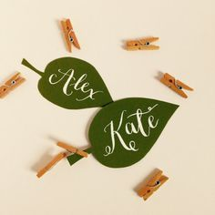 Rustic modern calligraphy paper leaf name tags
