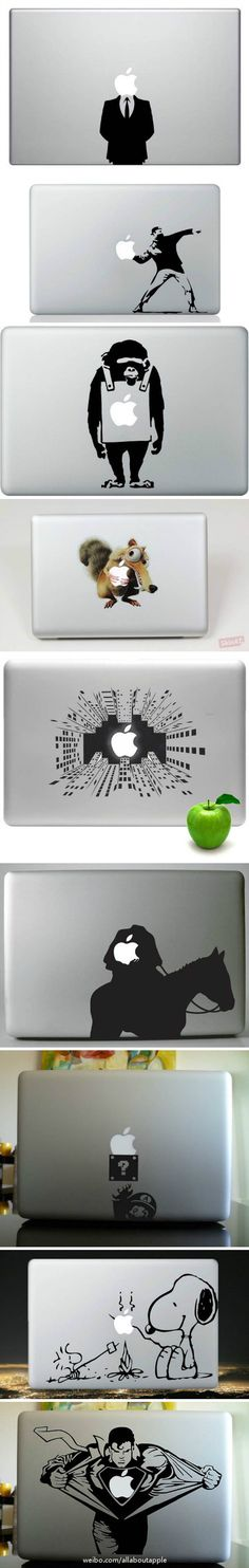 This compilation of MacBook stickers show the variety and creativity of the different choices out there! Scary, fun, silly, and humorous.