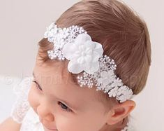 baby headbands Baby headband made of silk cotton flowers , soft lace band and beads. Suitable for many occasions- baptism, wedding, birthday. Sits beautifully on baby's head. Color is o Christening Headband, Baby Christening, Flower Girl Headbands, Lace Headbands, White Headband, Diy Headband, Crochet Coaster Pattern, Headband Pattern, Diy Hair Bows
