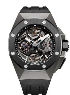 Black and Skeletonized Audemars Piguet Royal Oak Concept Flying Tourbillon GMT Titanium 44 mm Mens Watch Reference. Presenting the finest Men's Watches collection inspiration sharing. Best gift for men in fine suits. Audemars Piguet Gold, Audemars Piguet Watches, Seiko Watches, Cartier, Elegant Watches, Beautiful Watches, Patek Philippe, Men's Accessories, Swiss Army Watches