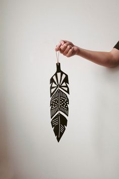 Wall Decoration || Handmade ceramic glazed feather by designer Sofia Nohlin. Comes with a leather string.