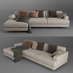 Corner Sofa 1 3D Model | Download Royalty Free Interior Furniture 3D Models - 3D Squirrel