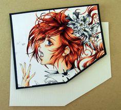 Copic Marker Europe: Stamp frpm Deviant Art. Skin: E0000,E00,E11,E13 Lips: E04 and Eyes: B93 Hair: YR000,YR02,E08,E19,E59 Flowers: C9,C7,C3,C1,C0, Y28