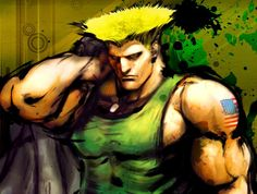 Cel Shaded effect mixed with a splattered rough effect on concept art for Street Fighter 4 character Guile