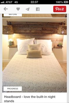 Pallet wood headboard with built in nightstand shelves