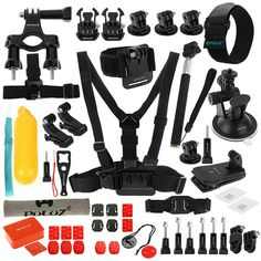 PULUZ PKT16 53 in 1 Accessories Combo Kit Stand Mount Bag Screw for Action Sport Camera