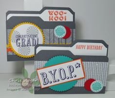 File Folder Gift Card Holders using Stampin' Up! Bravo and BYOP - pockets on the inside for gift cards
