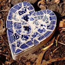 Blue willow heart mosaic
