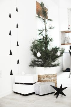 Scandinavian Christmas tree for a Wonderful Christmas Idea: star ornamental display in floor idea and pine tree wall painting also unique christmas tree with white hanging balls