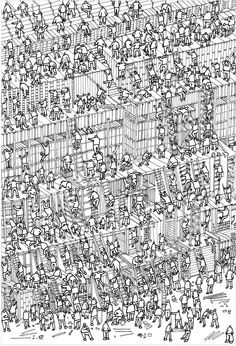 Workmen on a building. Very detailed. I am sure, without too much trouble, this could be made into a where's Wally.