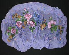 "Wrap ""Peonies on a lilac chiffon"" 115 x180 cm (45,3 "" x 70,8 "") chiffon,free paining on silk"