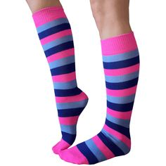 Striped Neon Pink, Blue and Royal Blue socks. Flat-knit construction - American Made Funky Socks, Crazy Socks, Colorful Socks, Cool Socks, Argyle Socks, Blue Socks, Striped Socks, Theme Halloween, Halloween Costumes
