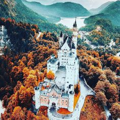 lumadeline ~ Where the magic happens… Beautiful Neuschwanstein Castle in Germany. This was the inspiration for the Sleeping Beauty castle in Disneyland. Oh The Places You'll Go, Places To Travel, Places To Visit, Beautiful Castles, Beautiful Places, Stunningly Beautiful, Beautiful Pictures, Drone Photography, Travel Photography