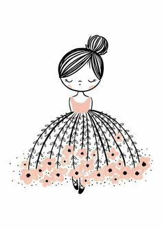 flower dresses Oh, the stunning Flower Dress Dreamer. This modern wall art illustration with a pop of pink is the perfect design. Doodle Art, Doodle Drawings, Cute Drawings, Art And Illustration, Ballerina Illustration, Girl Illustrations, Art Mignon, Pop Design, Inspiration Art