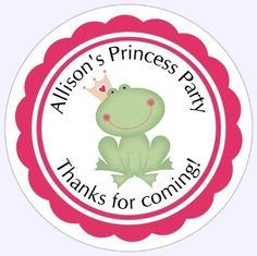 Custom Princess and Frog Birthday Labels Birthday Decoration