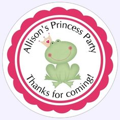 Personalized Children Stickers, Custom Princess and Frog Birthday Labels, Birthday Decoration, Party Favor Stickers. $5.95, via Etsy.