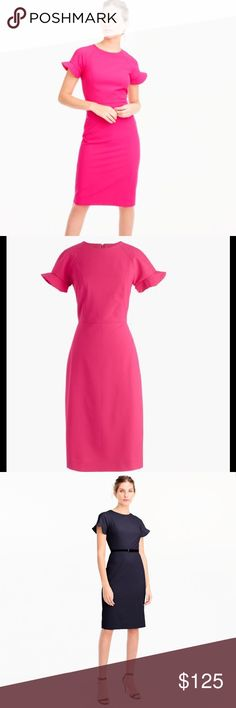 NWT J.Crew Ruffle-Sleeve Sheath Dress in Wool Finished with ruffle sleeves, this fitted sheath dress in four-season Italian fabric is ready for big meetings, presentations, work dinners and more. Wool/elastane. Falls to knee. Dry clean. Note: dress is pink, navy for fit only J. Crew Dresses