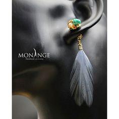 #アクセサリー#ハンドメイド#フェザー#ビジュー#天然石#ジュエリー#春#ファッション#ターコイズ#accessory#handmade#jewelry#powerstones#MONANGE#piercedearrings#mo2016pie