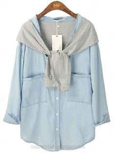 Blue Long Sleeve Contrast Cape Pockets Denim Blouse for HPL -$40.69