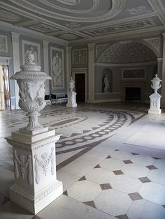 neoclassical urns in Entrance Hall of Osterley Park House - Robert Adam