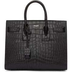 Saint Laurent Black Croc-Embossed Small Sac de Jour Tote