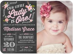 Precious One - Birthday Party Invitations - Portsmouth Card Co - Blushing - Pink : Front