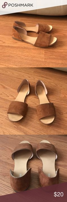 Express open toe flats. Cognac color. Size 7 1/2 worn just a couple of time. These are suede. In good condition no noticeable signs of wear. Express Shoes Flats & Loafers