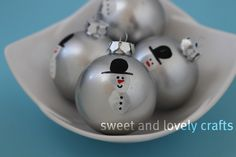 sweet and lovely crafts: snowmen Christmas ornaments