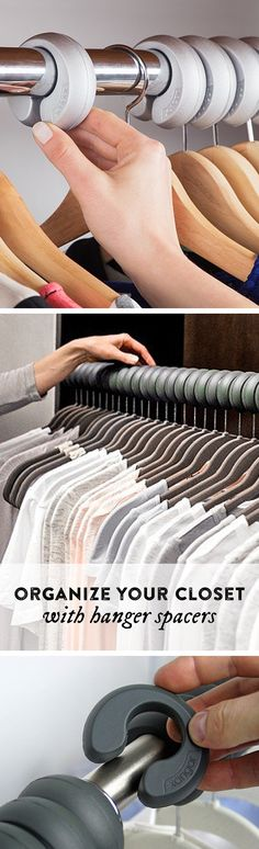 See how freed up your closet can be. These hanger spacers fit over your clothing rod, keeping clothing evenly spaced, unwrinkled, and organized. Closet Storage, Closet Organization, Organizar Closet, Master Bedroom Closet, Dream Closets, Closet Designs, Closet Space, My New Room, Getting Organized