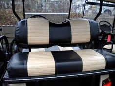Recover your old golf cart covers with a two toned combination.