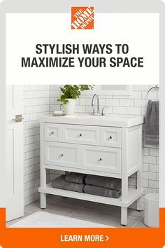 Get small bathroom design ideas that will make a big splash in even the tiniest spaces. This Home Depot guide shows you how to choose a vanity style, color ideas and has tips to make your bath look and feel more spacious. Small Bathroom Vanities, Bathroom Design Small, Layout Design, Diy Design, Design Ideas, Modern Design, Diy Bedroom Decor, Diy Home Decor, Home Depot
