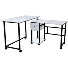 Sullivans Stowaway Craft and Hobby 2-piece Sewing Machine Tables