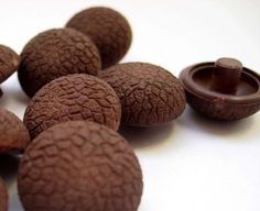 Vintage Chocolate Brown buttons SET OF 10 by allthepreciousthings