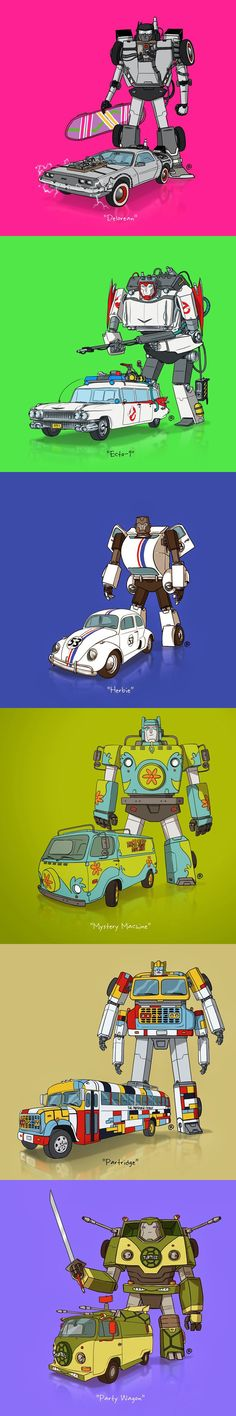 Canadian illustrator Darren Rawlings imagined iconic vehicles from pop culture as autobots from the Transformers franchise. #art #illustration