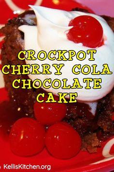 CROCKPOT CHERRY COLA CHOCOLATE CAKE Dump Cake Crockpot, Crockpot Deserts, Slow Cooker Desserts, Crockpot Recipes, Cooking Recipes, Slow Cooker Chocolate Cake, Chocolate Cherry Dump Cake, Easy Chocolate Desserts, Fun Desserts