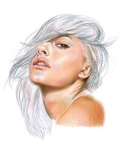Minni Havas, colored pencil {contemporary figurative art female head woman face portrait drawing}