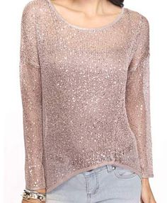LUV the subtle sparkle of the sweater!Perfect paired with distressed boyfriend jeans!