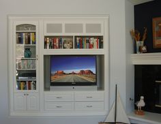 niche media built in with corner fireplace | Traditional White Niche Media Center