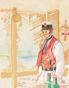 King of Cups - Corto Maltese Tarot by Hugo Pratt Louise Brooks, Illustration Sketches, Illustrations, Maltese, Paolo Conte, King Of Cups, Hugo Pratt, Jordi Bernet, Book Creator