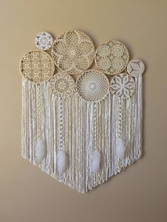Large Crochet Dream Catcher Wall Hanging, Doily Dream Catcher, Boho Home Decor, Dorm Decor, Crochet Wall Art, Bohemian Bedroom, Yoga Space by driftwoodanddreamers on Etsy https://www.etsy.com/listing/517109471/large-crochet-dream-catcher-wall-hanging