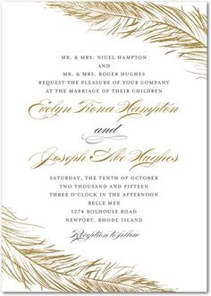 This elegant wedding invitation is a contemporary take on a formal template. The delicate feather embellishments add an element of fun.