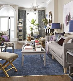Natalie loves neutrals and didn't want to change her wall color. No problem -- laying down a big hit of color on the floor has just as much ...