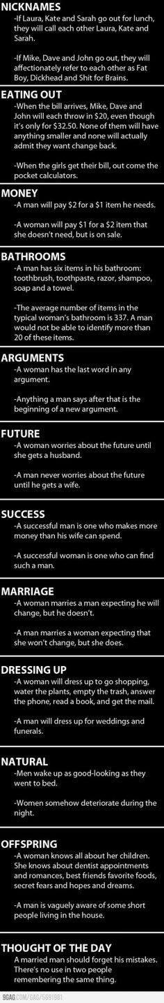 How Men and Women Differ ... Funny! LOL