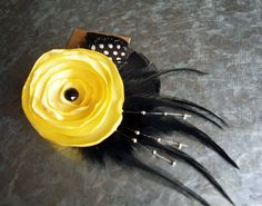 Sunshine Yellow Flower with Feathers hair clip fascinator perfect for a bride or bridesmaid.  stylesbym