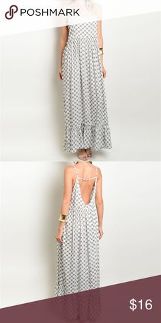 The perfect maxi dress. This is the perfect lightweight summer maxi!       •features small navy blue floral design and a slightly open back.                                                  •100% rayon.                                                            •hand wash cold.                                                     •fits true to size.                                                       •item is new from manufacturer; never washed or worn. Steezyer Dresses Maxi
