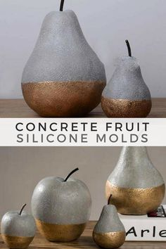 I love these concrete apples and pears. With the silicone mold I could make a fruit bowl decoration. #ad #concrete #siliconemold #fruitmold #pearmold #applemold #homedecor #cement