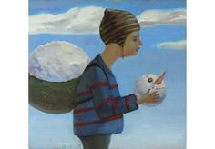Original oil painting. Boy with the snowman. Portrait by OilOxOil, $95.00